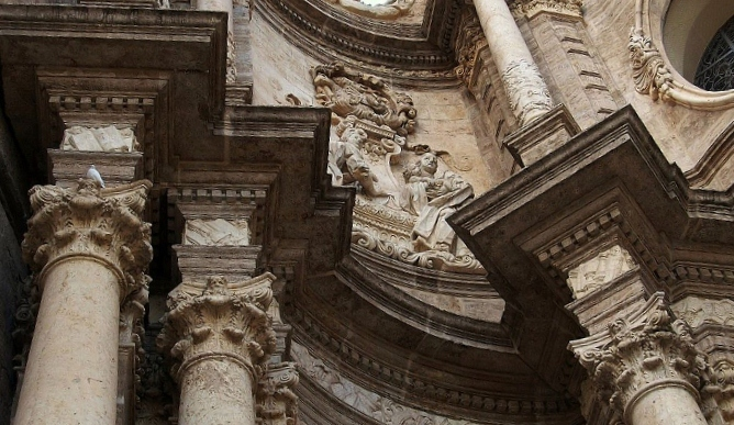 Capitals And The Entablatures Cornices Friezes Architraves Of Cathedral Valencia