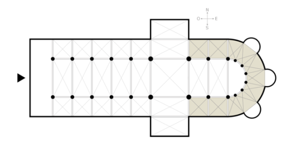 Floor plan of a cathedral. The ambulatory is the shaded area enclosing the apse.